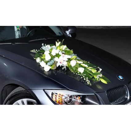 Elegant & Classical - Car flower arrengement with white oriental, roses, orchids and a variety of foliage!